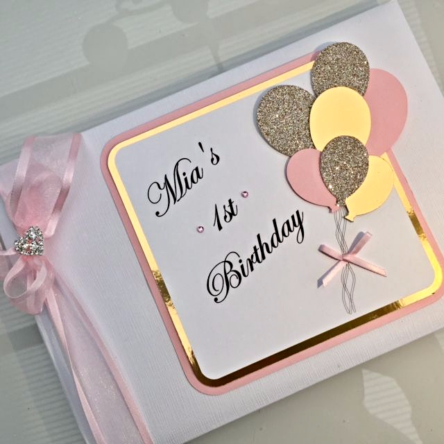 1st birthday guest book pink gold